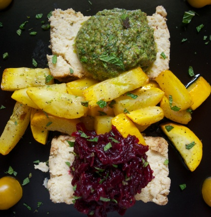 served with beetroot & mango chutney salad and homemade pesto